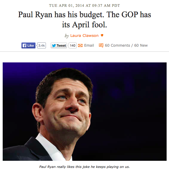 Paul Ryan has his budget. The GOP has its April Fool - Laura Clawson, DailyKos