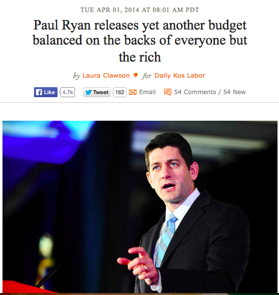 Pau Ryan Releases yet another budget balanced on the backs of everyone but the rich - Laura Clawson, DailyKos