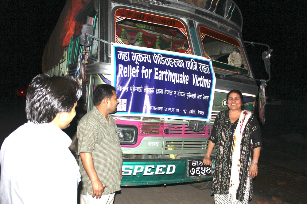 The first relief truck left our ministry base last night on a 12 hour journey to Kathmandu