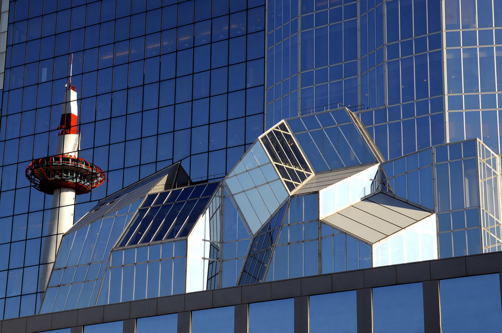 Kyoto Station Building with Kyoto Tower reflected