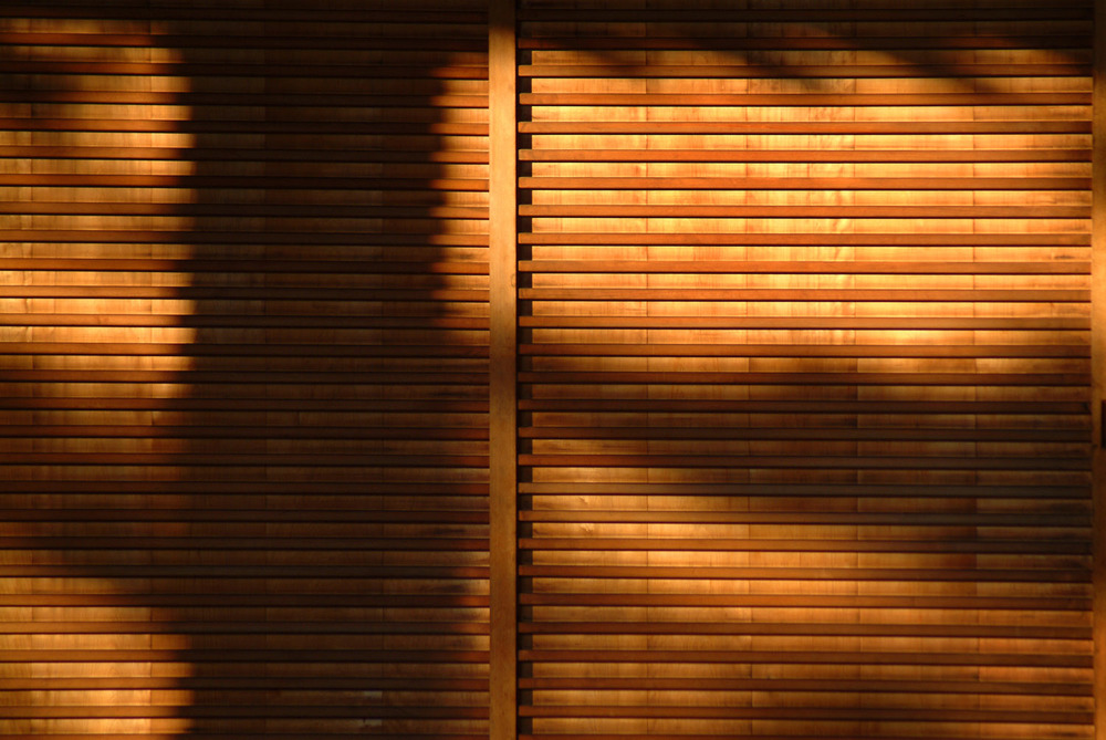 Wooden screen in evening sunshine