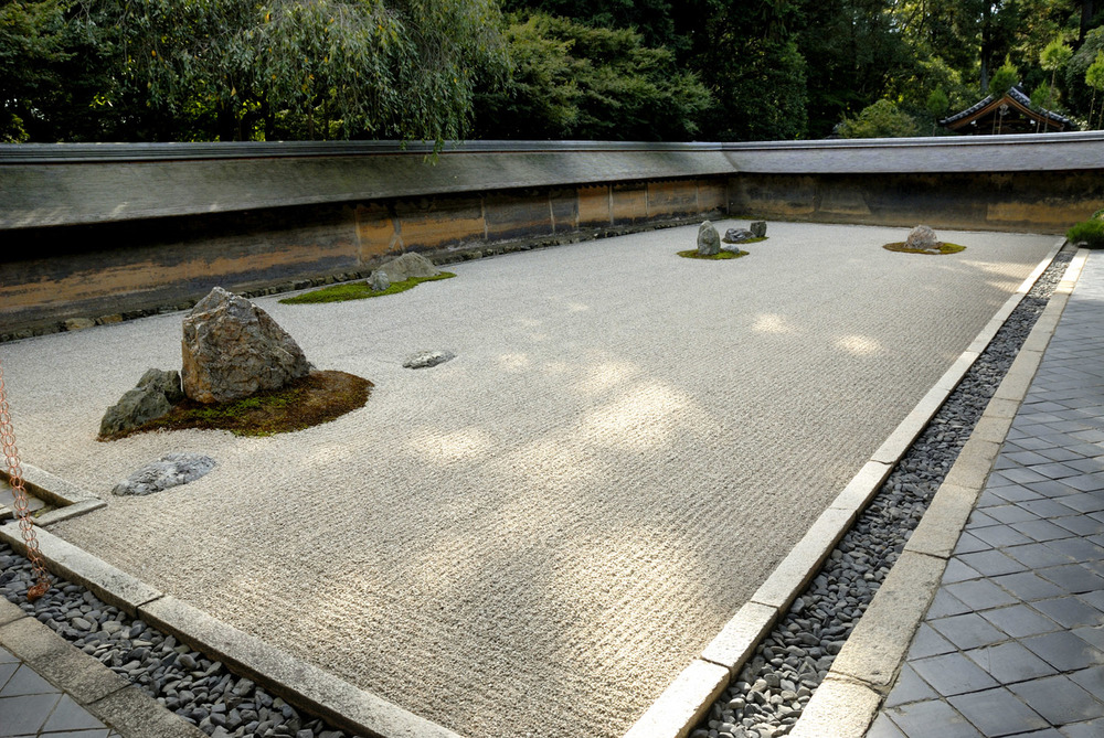 Raked gravel garden of Ryoanji Temple