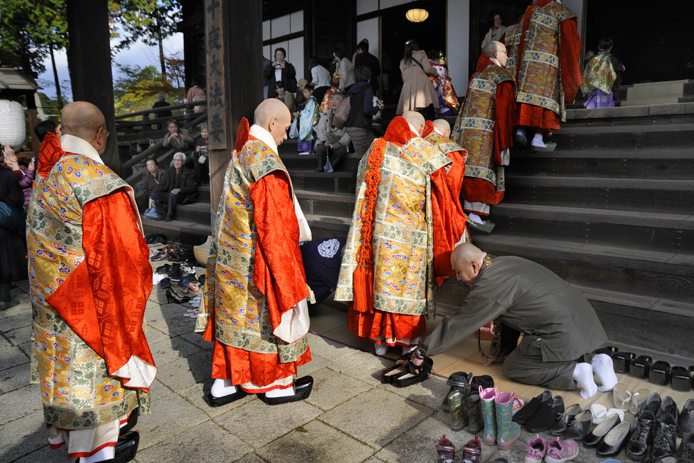 Monks at the Shichigosan Festival at Shinnyodo Temple