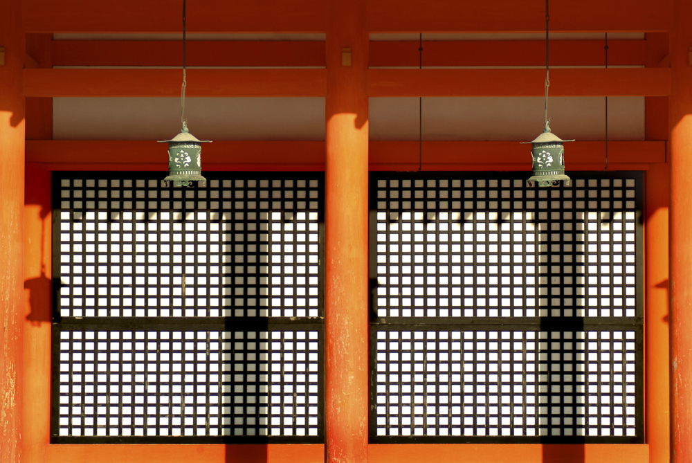 Sliding shoji screen doors at Heian Shrine