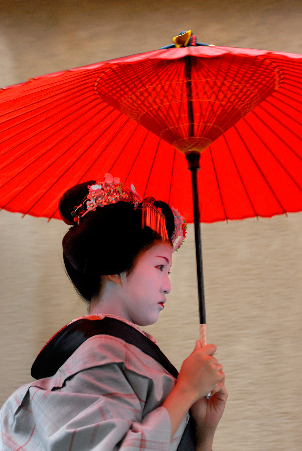 Maiko in the rain with a parasol