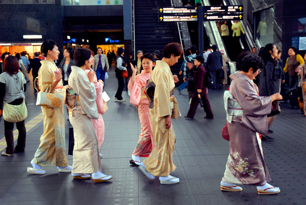 Women in kimonos at Kyoto Station