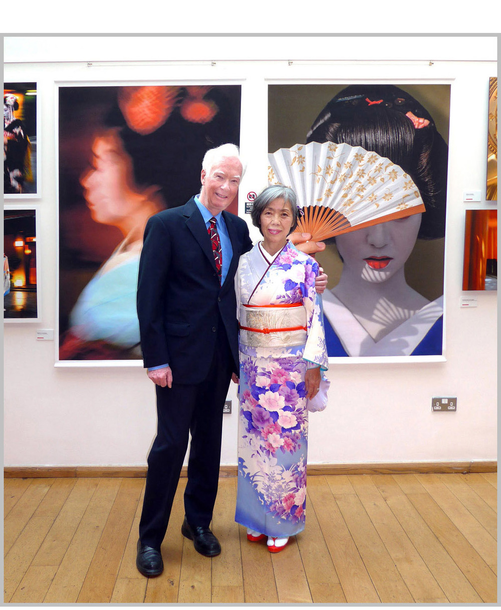 Jeremy Hoare and Chizuko Kimura at the opening of 'Kyoto Dreams' at Burgh House, Hampstead, London on 6 July 2016.