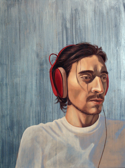 "Red Headphones, 36 "" x 24 "", oil and acrylic on wood, 2012"