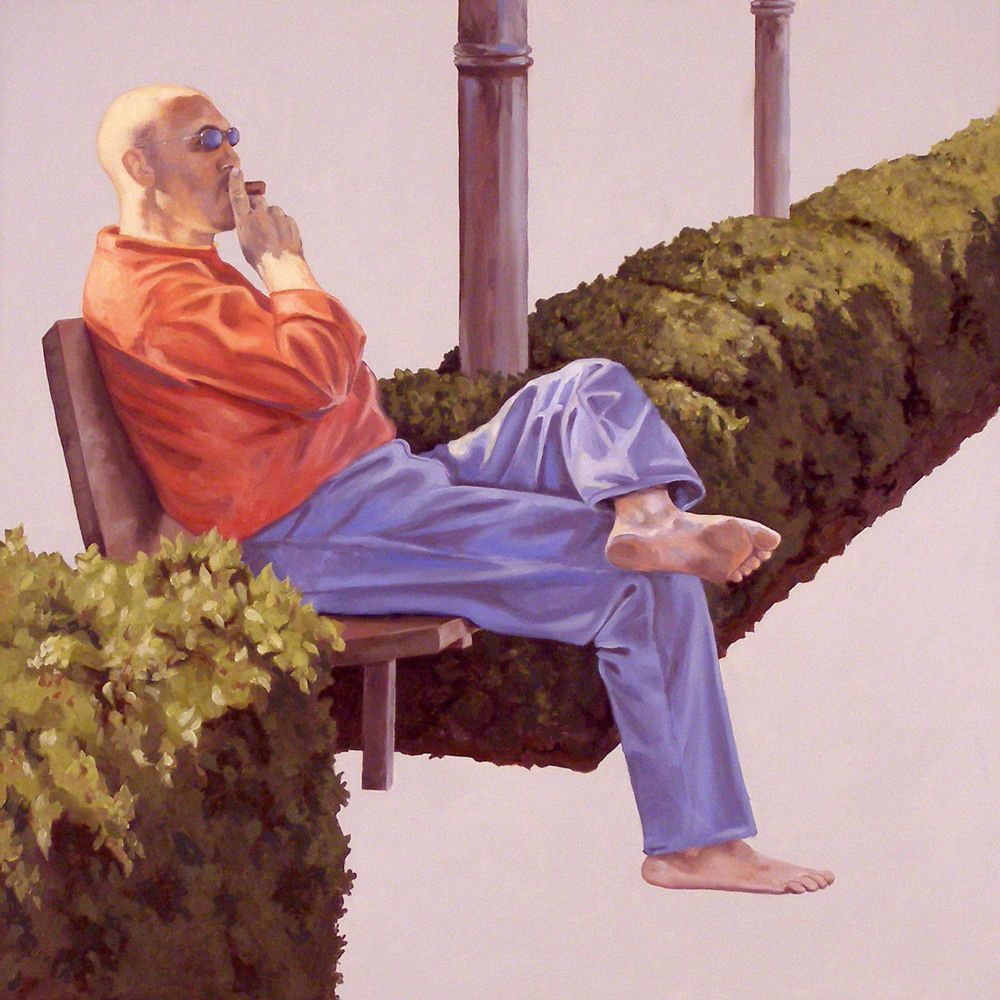 "Alone Together: Barefoot Man, 22""x 22"", oil on panel, 2007"