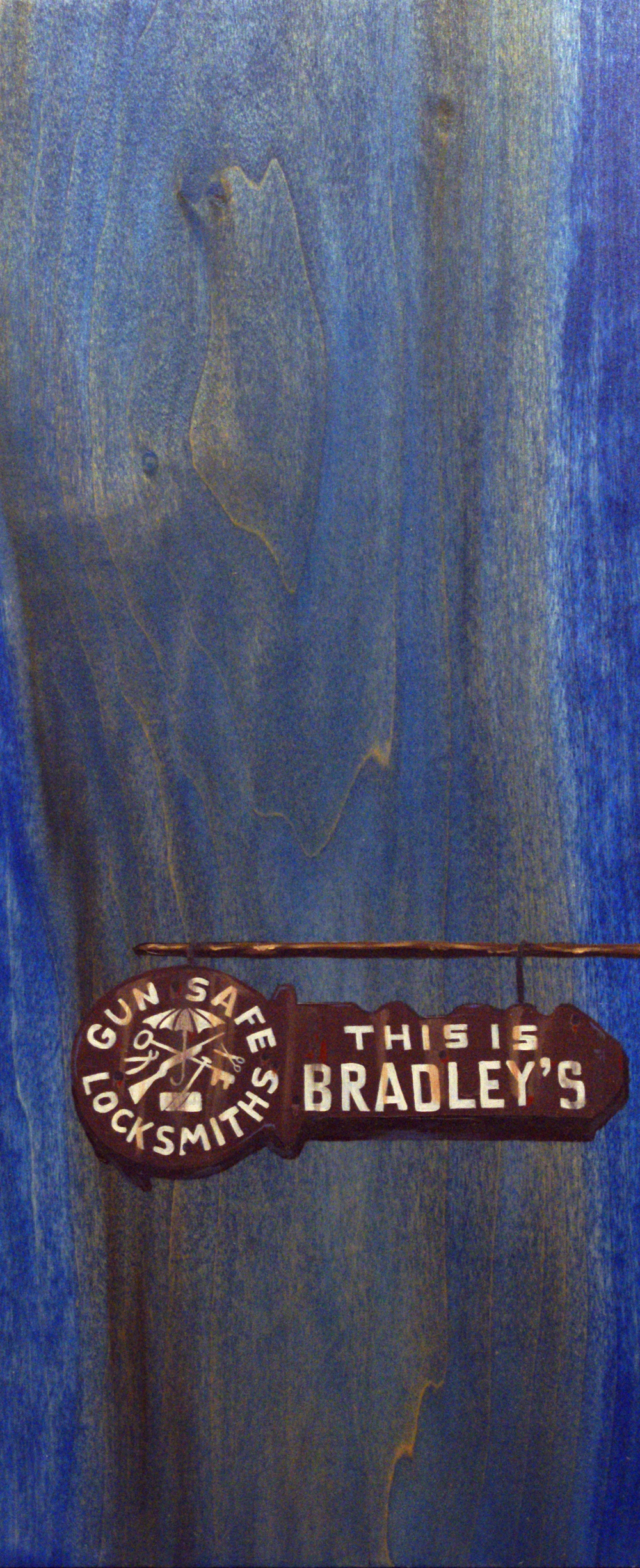 "Bradley's, 18"" x 8"", oil and acrylic on wood, 2011"