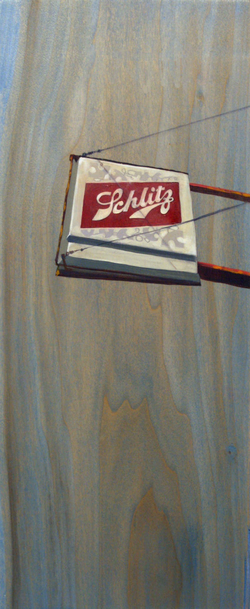 "Schlitz, 18"" x 8"", oil and acrylic on wood, 2011"