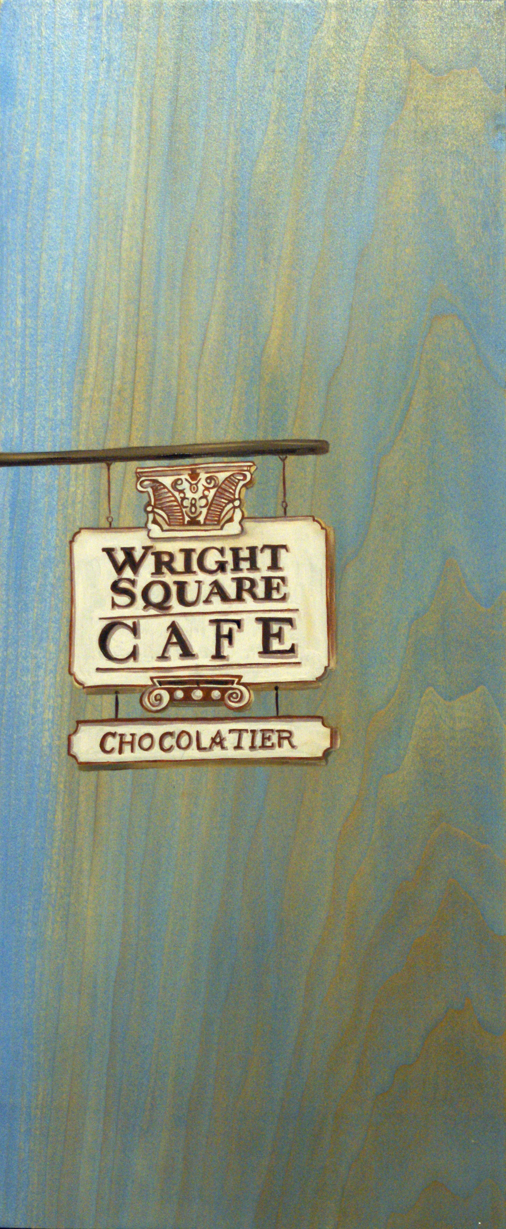 "Wright Square Cafe, 18"" x 8"", oil and acrylic on wood, 2011"