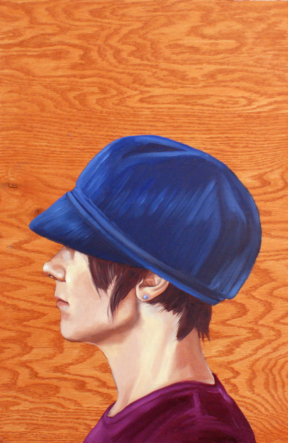 "Hat Profile #5 , 24 "" x 18 "", oil and acrylic on wood, 2014"