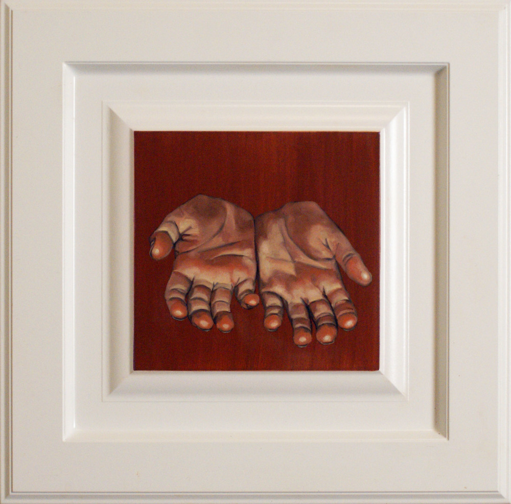 "Hand #6, 14.5"" x 14.5"", oil and acrylic on cabinet door, 2014"