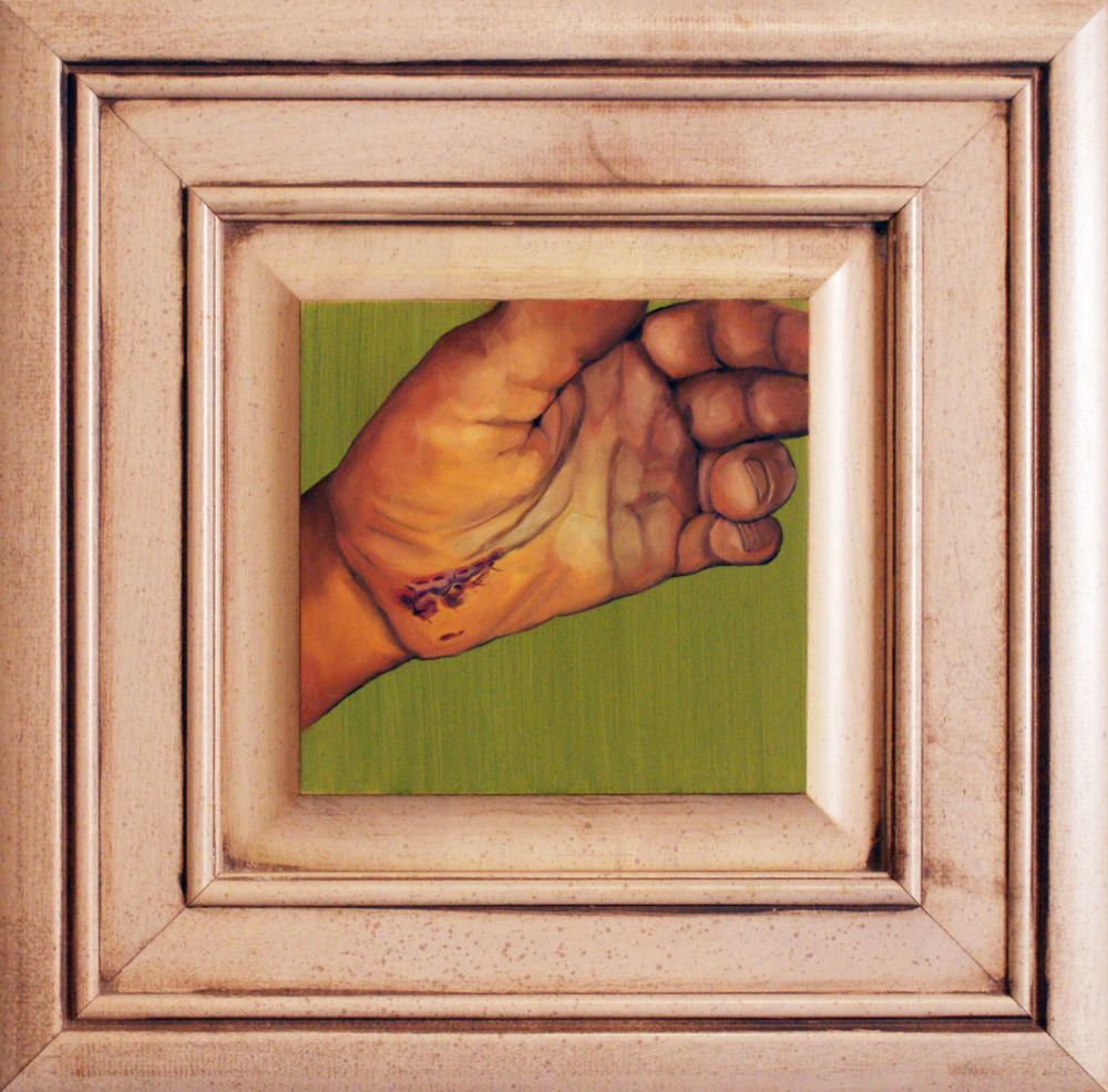 "Hand #4, 14.5"" x 14.75"", oil and acrylic on cabinet door, 2014"