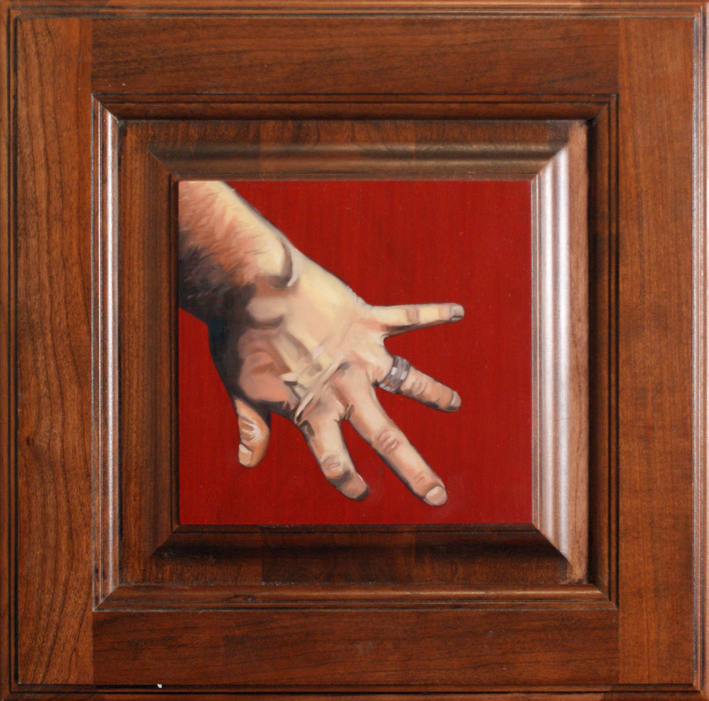 "Hand #1, 14.5"" x 14.5"", oil and acrylic on cabinet door, 2014"