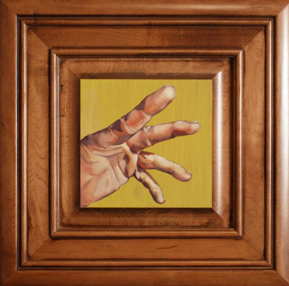 "Hand #3, 14.5"" x 14.5"", oil and acrylic on cabinet door, 2014"