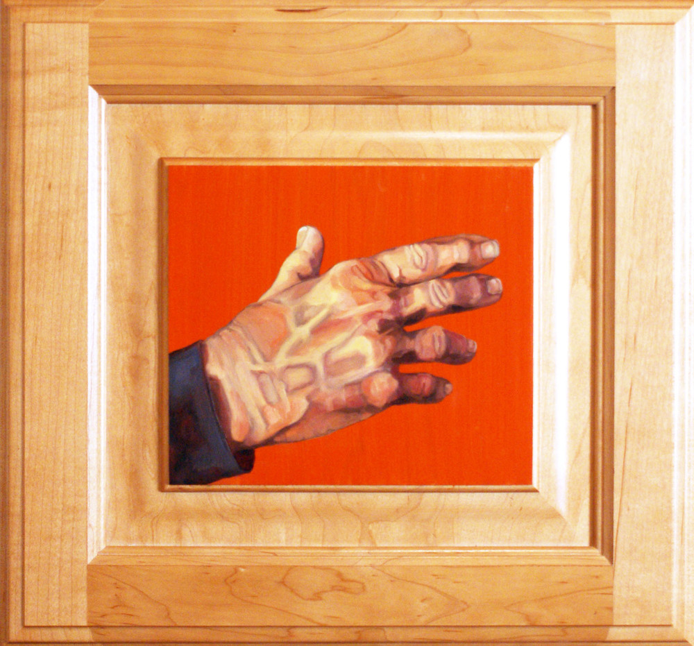 "Hand #2, 13"" x 14"", oil and acrylic on cabinet door, 2014"