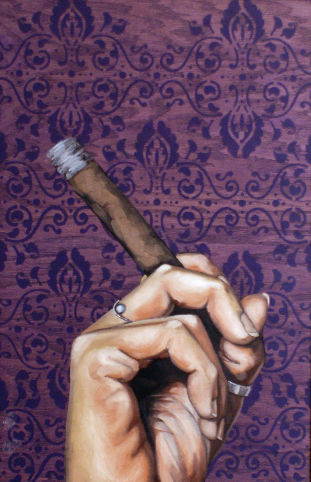 "Smoke, 24 "" x 16 "", oil and acrylic on wood, 2014"