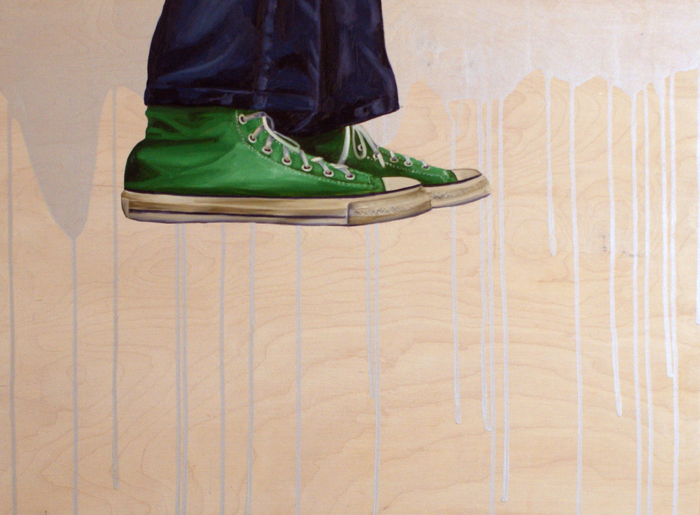 "Shoe #3, 18"" x 24"", oil and acrylic on wood, 2014"