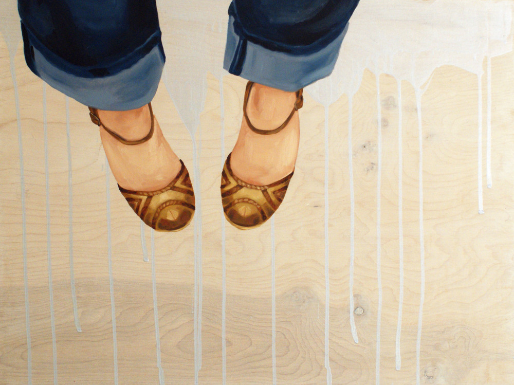 "Shoe #2, 18"" x 24"", oil and acrylic on wood, 2014"