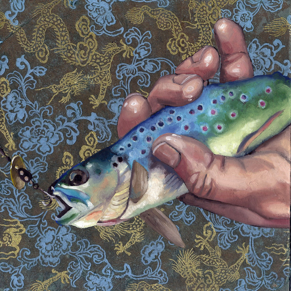 "Fish, 8 x 8"", oil and rice paper on panel, 2014"