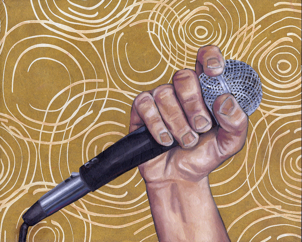 "Microphone, 8 x 10"", oil and rice paper on panel, 2014"