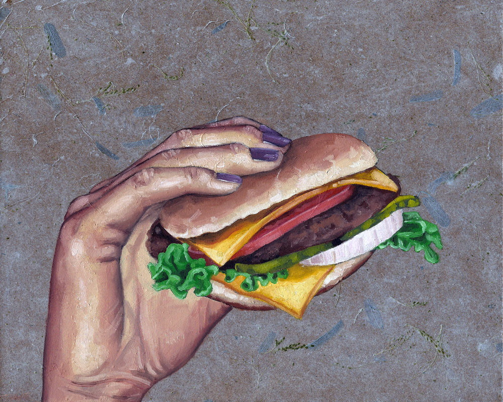 "Burger, 8 x 10"", oil and rice paper on panel, 2014"