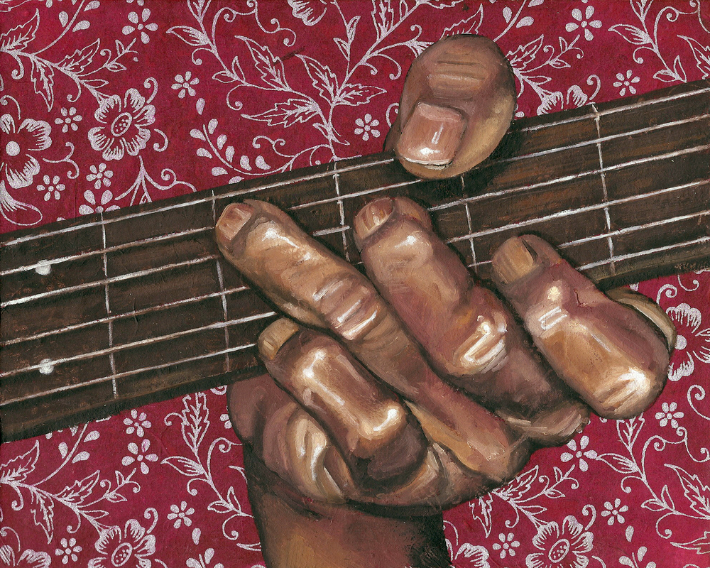 "Guitar, 8 x 10"", oil and rice paper on panel, 2014"