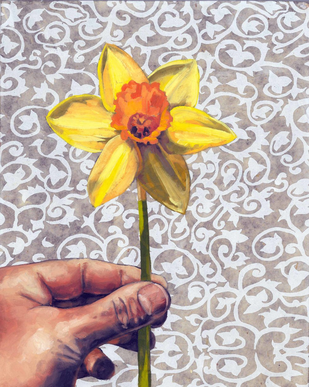 "Daffodil, 8 x 10"", oil and rice paper on panel, 2014"