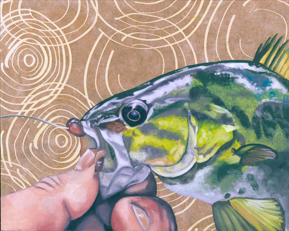 "Bass, 8 x 10"", oil and rice paper on panel, 2014"