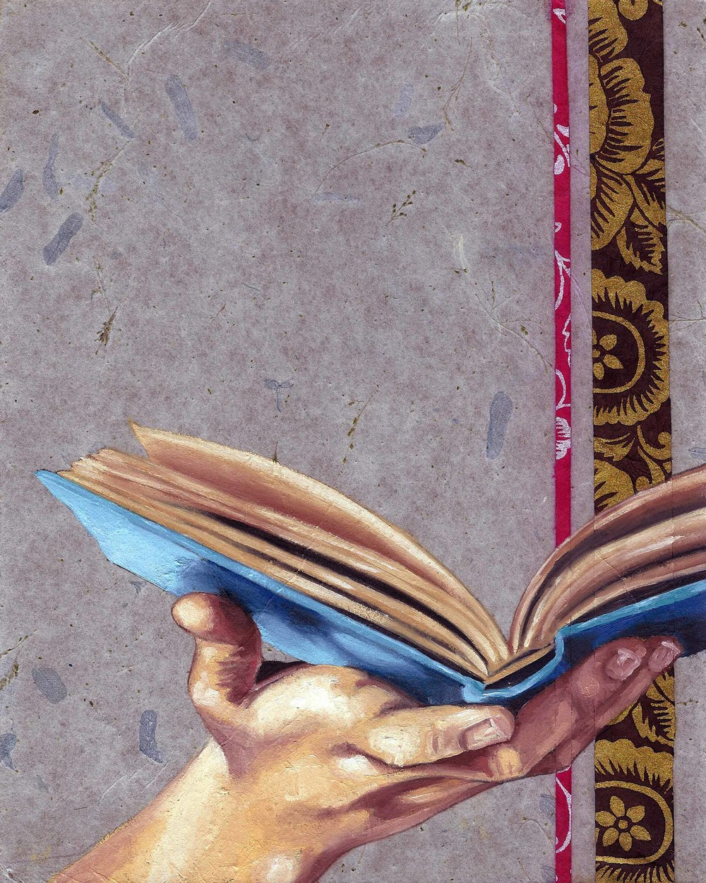 "Open Book, 8 x 10"", oil and rice paper on panel, 2014"
