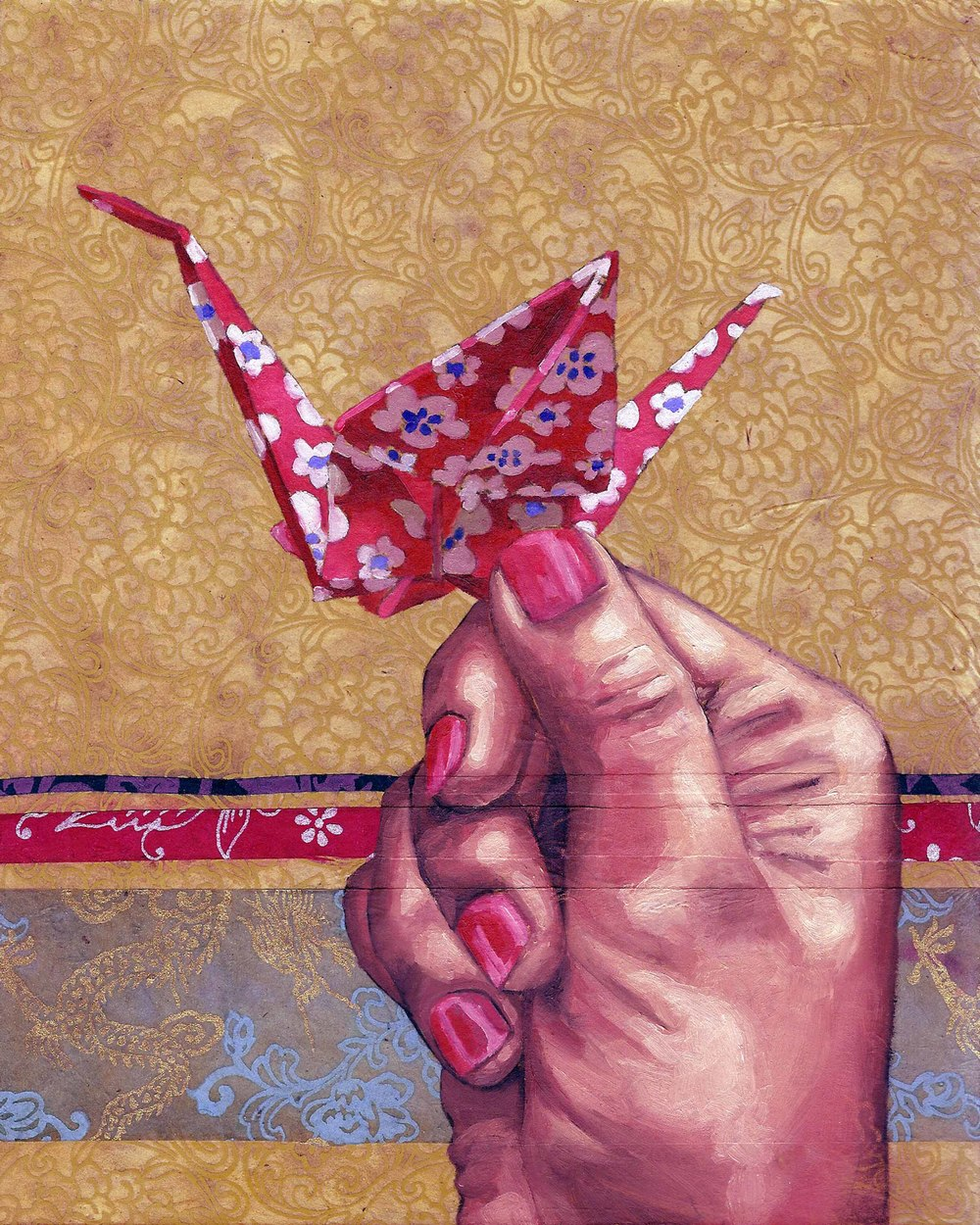 "Origami, 8 x 10"", oil and rice paper on panel, 2014"