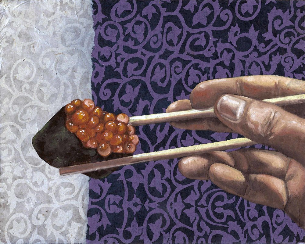 "Sushi Roe, 8 x 10"", oil and rice paper on panel, 2014"