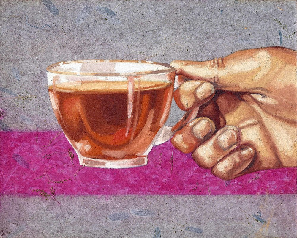 "Tea Cup, 8 x 10"", oil and rice paper on panel, 2014"