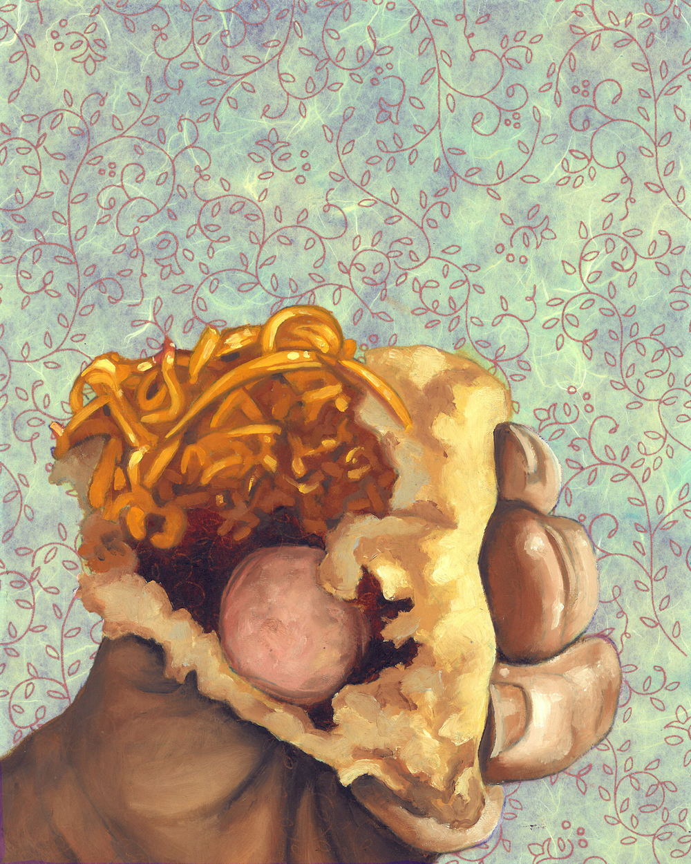 "Cheese Coney, 8 x 10"", oil and rice paper on panel, 2014"