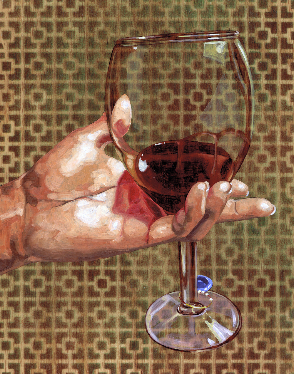 "Wine Glass, 14 x 11"", oil on panel, 2016"