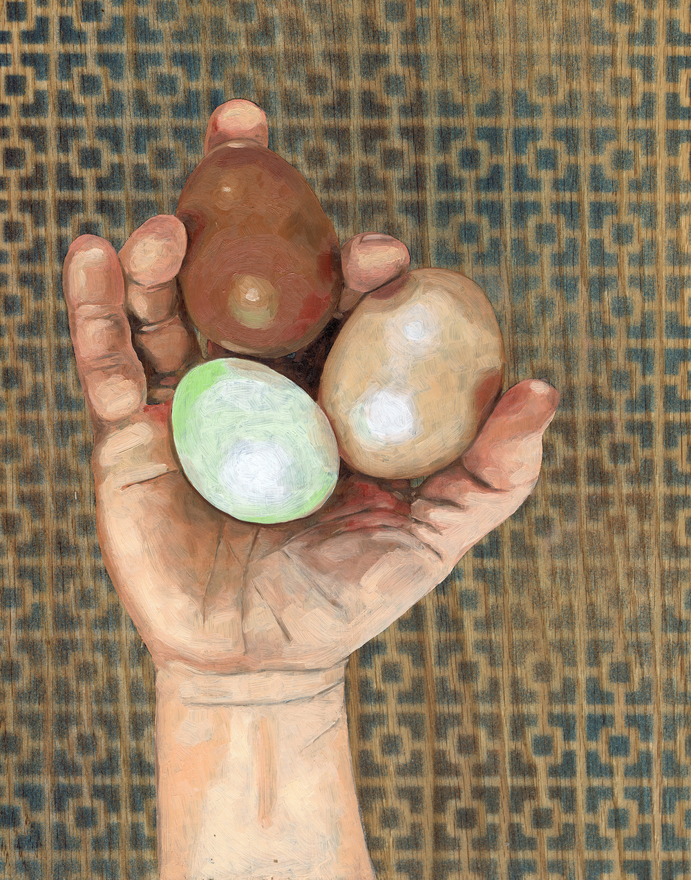 "3 Eggs, 14 x 11"", oil on panel, 2016"