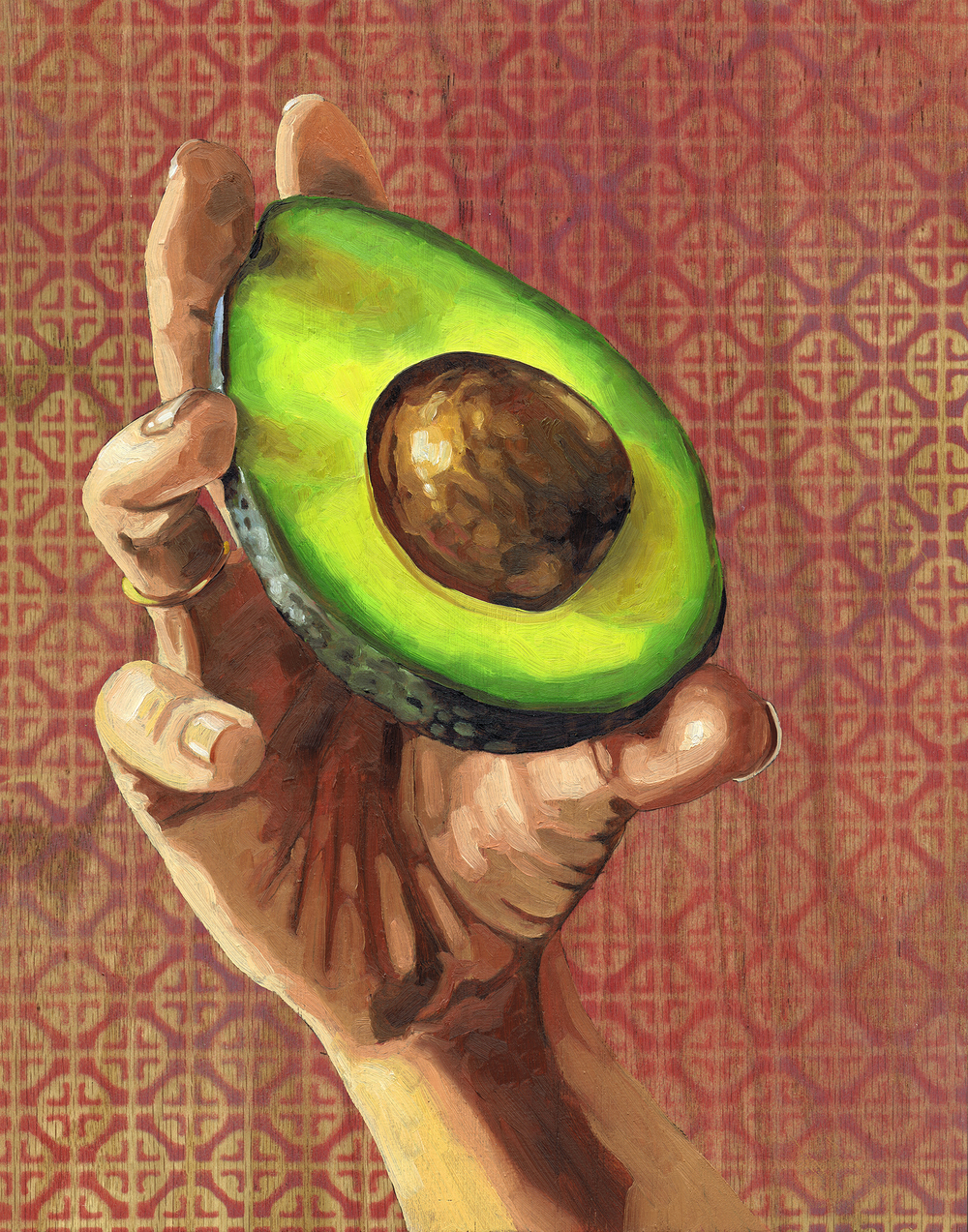 "Avocado, 14 x 11"", oil on panel, 2016"