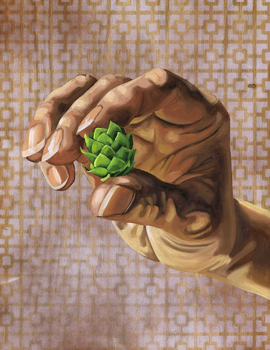 "Hops, 14 x 11"", oil on panel, 2016"
