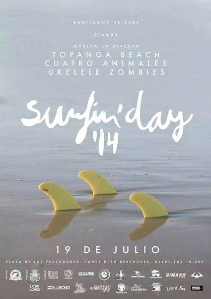 Cartel del Surfin´Day. Diseñado por David Gaspar.