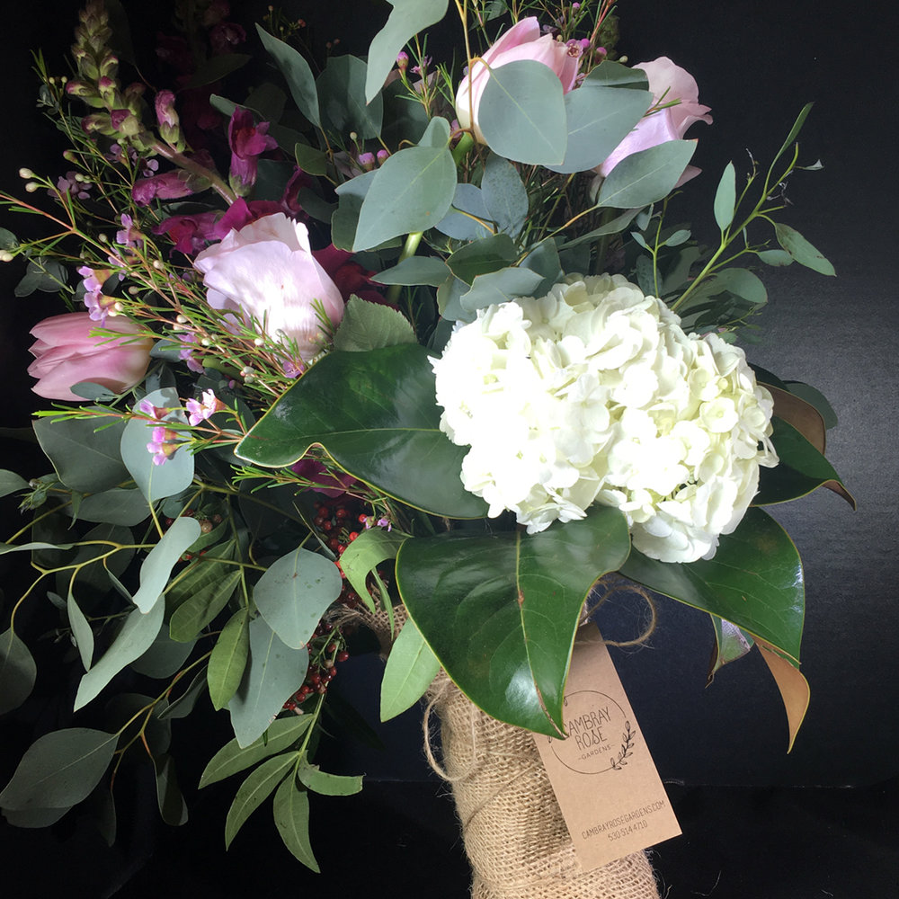 Bouquet In A Recycled Burlap Wrap Cambray Rose