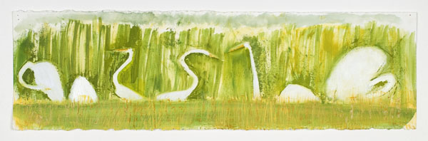 "Great Egrets Chorus, oil on paper, 30"" x 9"""