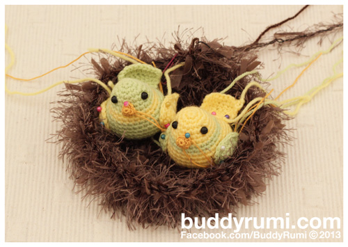 Amigurumi birds in nest crochet