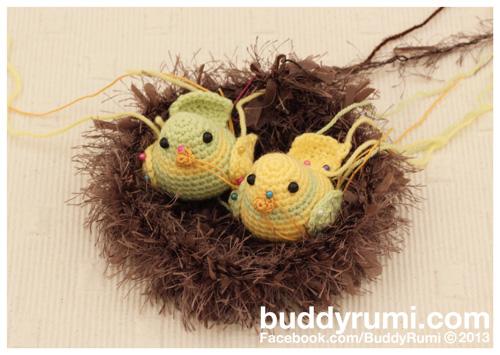 Amigurumi birds in nest crochet