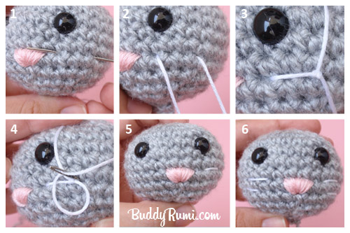 Crochet cat charm pattern