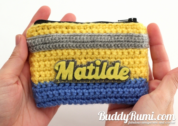 Personalized minion crochet wallet