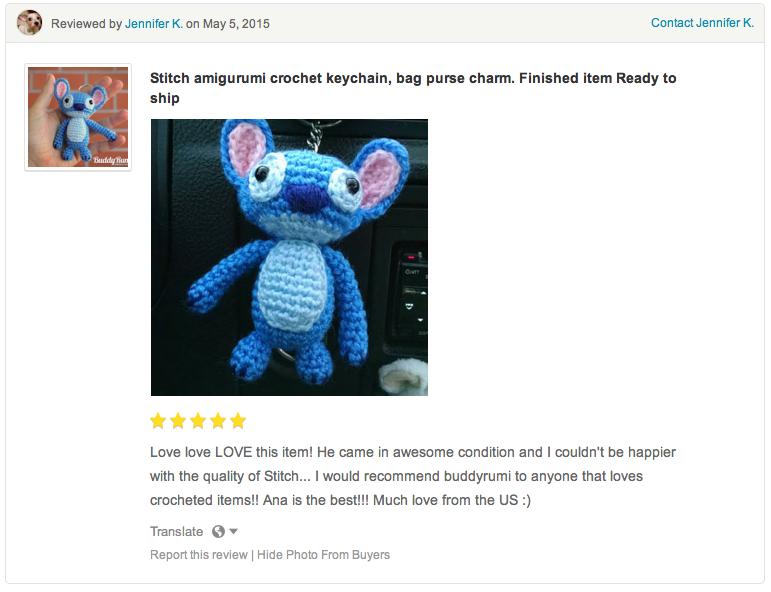 Stitch crochet amigurumi keychain
