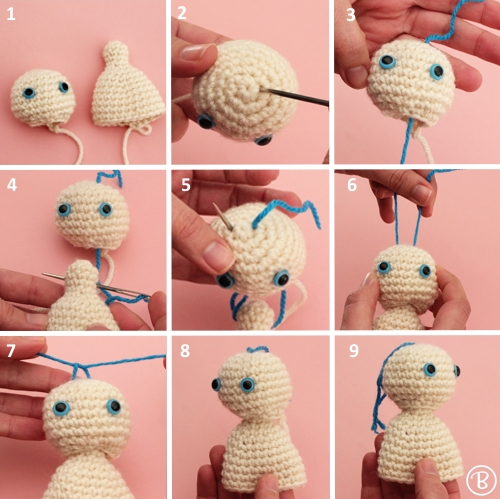 Movable head crochet amigurumi doll