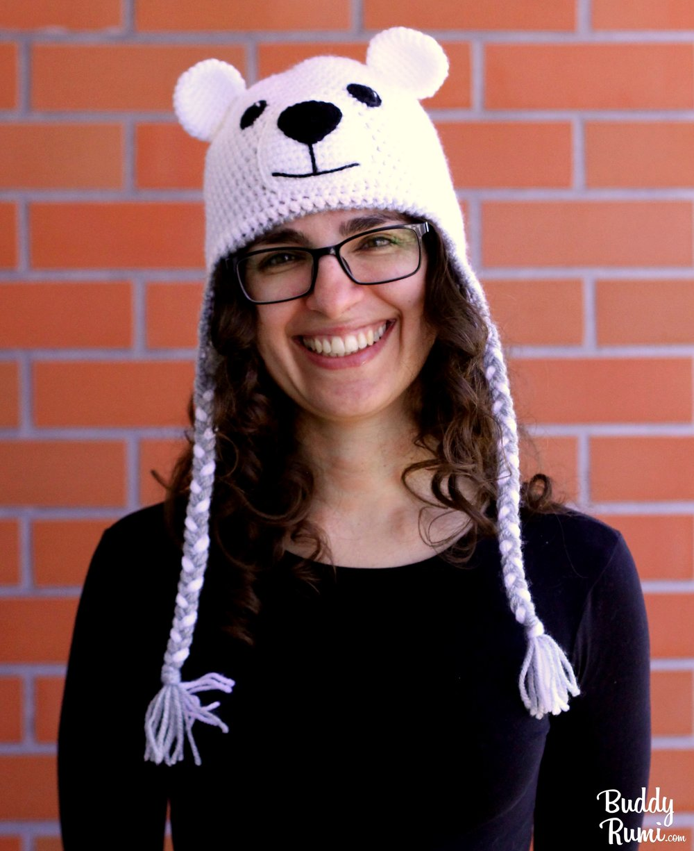 Crochet hat polar bear with braids